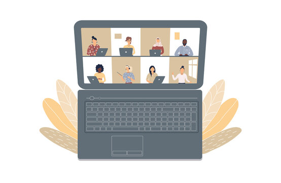 The concept of business videoconference,distance learning or online training during the virus epidemic.Laptop with a lot of open windows on Internet page with different people.Raster illustration