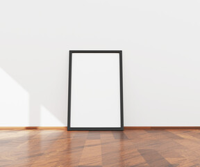 Empty picture or poster frame on a white wall for mock up. 3D illustration