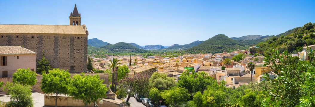 Majorca Spain, panorama view of town Andratx