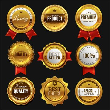 Gold sale badges. Premium golden emblem, luxury genuine and highest quality product badge, best seller offer, round promotion element with ribbon realistic vector set