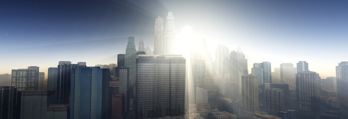 Sunrise over the city, the rays of the sun in the skyscrapers, 3D rendering