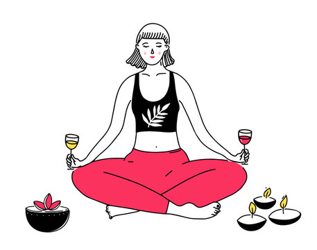 Woman in yoga lotus position holding wine glasses in both hands. Funny illustration of balance and stress relief. Doodle line drawing of meditating girl and candles.