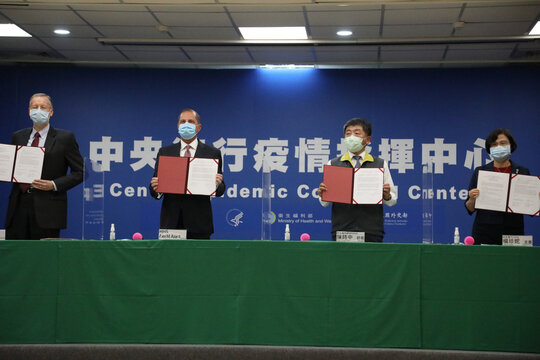 U.S. Health and Human Services Secretary Alex Azar and Taiwan Minister of Health and Welfare Chen Shih-chung hold a joint news conference in Taipei
