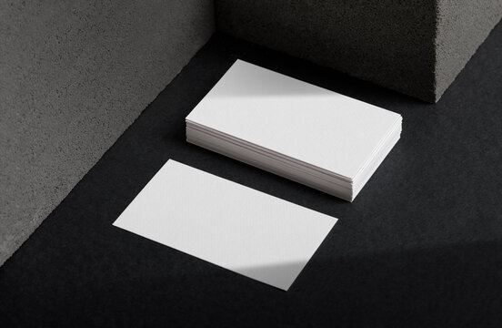 Minimal business card mockup with concrete block