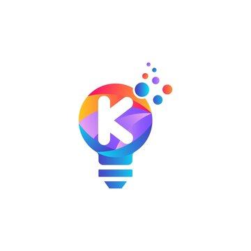 K letter bulb logo design with gradient.Letter K and light bulb.K letter Lamp logo design.Lighting Electric lamp. Electricity, shine.Bulb light icon - Idea sign, solution. Bulb light symbol Energy