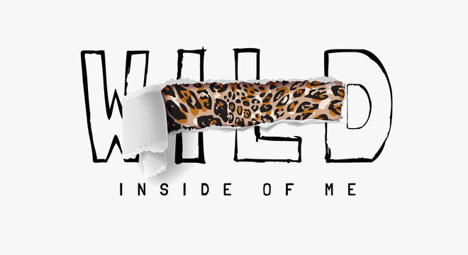 leopard print inside ripped off wild slogan