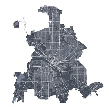 Dallas map. Detailed map of Dallas city poster with streets. Dark vector.