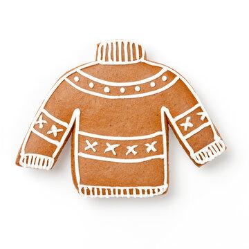 Lebkuchen Pulli mit Zuckerguss Dekoration für Weihnachten