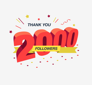 Thank you 2000 social media followers, modern flat banner. Easy to use for your website or presentation.