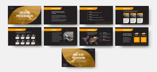 Wall Mural - Infographic template with orange illustration on black background, for annual report, data analytics, business concept.