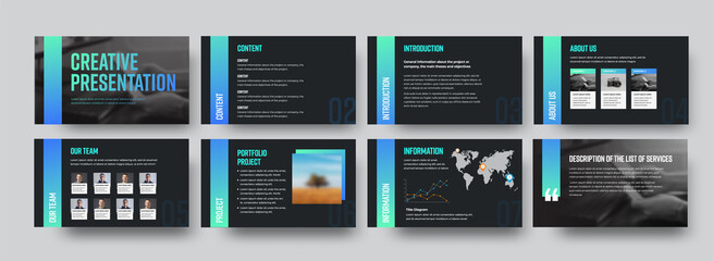 Vector black infographic template with gradient color lines, content description, information and creative presentation ui design.