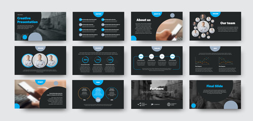 Wall Mural - Infographic design presentation, power, point, with blue circles on black background, creative leaflet for annual report, information for business.