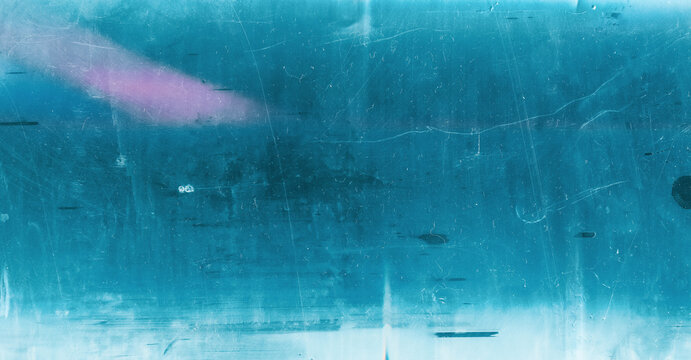 Dust scratched overlay. Aged film texture. Cyan blue pink weathered effect for photo editor.