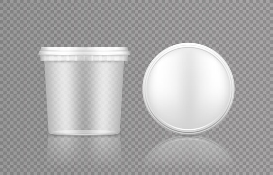 Empty transparent bucket with cap top view mockup for ice cream, yoghurt, mayo, paint, or putty. Plastic package design. Blank food or decor product container template. 3d vector illustration