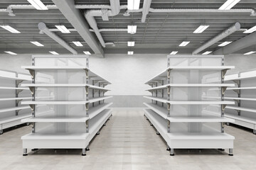 Supermarket interior with empty store shelves mock up.