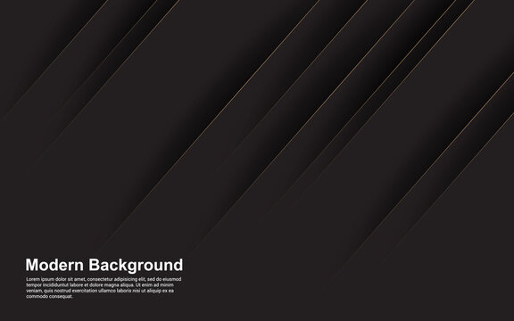 Illustration vector graphic of abstract background black with brown line modern
