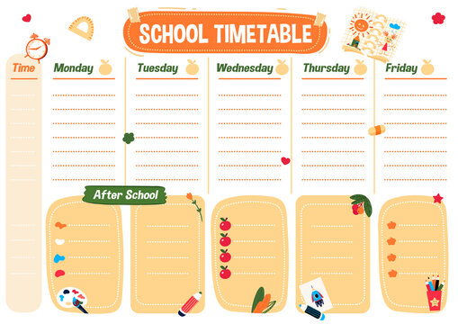 School planning list. Printable art timetable for kids and student. Weekly schedule for lessons and program after school. Organizer for children during education. Planner for college with cute chart.