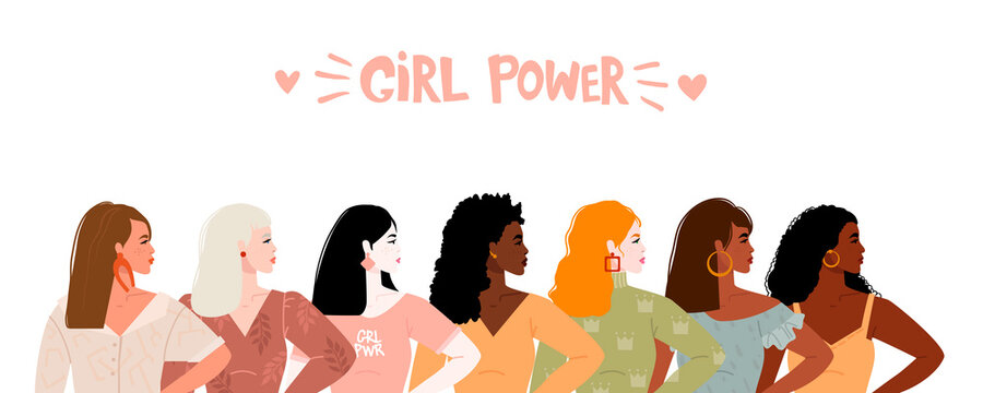 Seven women of different nationalities and cultures stand together. The concept of the feminist movement for the empowerment of women. Lettering girl power Vector illustration. Isolated on background.