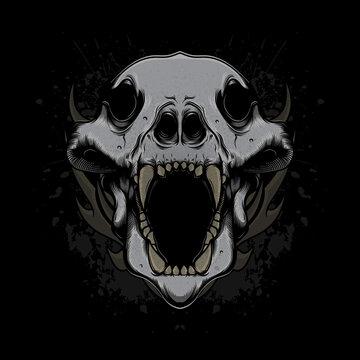 wolf head skull vector