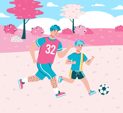 Cartoon characters of father and son playing football together at background of summer landscape, flat cartoon vector illustration. Fatherhood and parenthood concept.