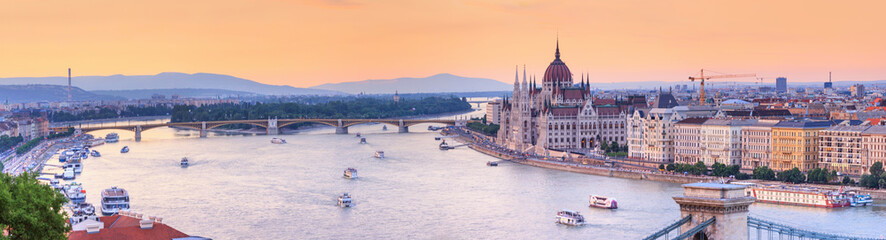 City summer landscape, panorama, banner - top view of the historical center of Budapest with the Danube river, in Hungary