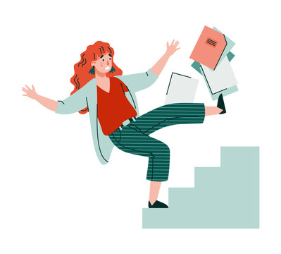 Business woman or office worker cartoon character falling from stairs, flat vector illustration isolated on white background. Safety and injury in workplace concept.
