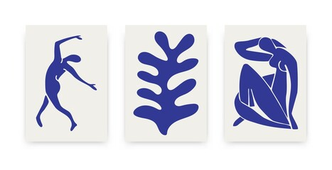 Contemporary Matisse inspired posters. Abstract organic shapes, hand drawn collage set, creative art. Vector illustration