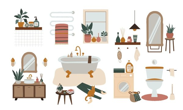 Cozy bathroom interior. Scandinavian bath with toilet sink plants home decorations.  Modern vector illustration hugge boho style