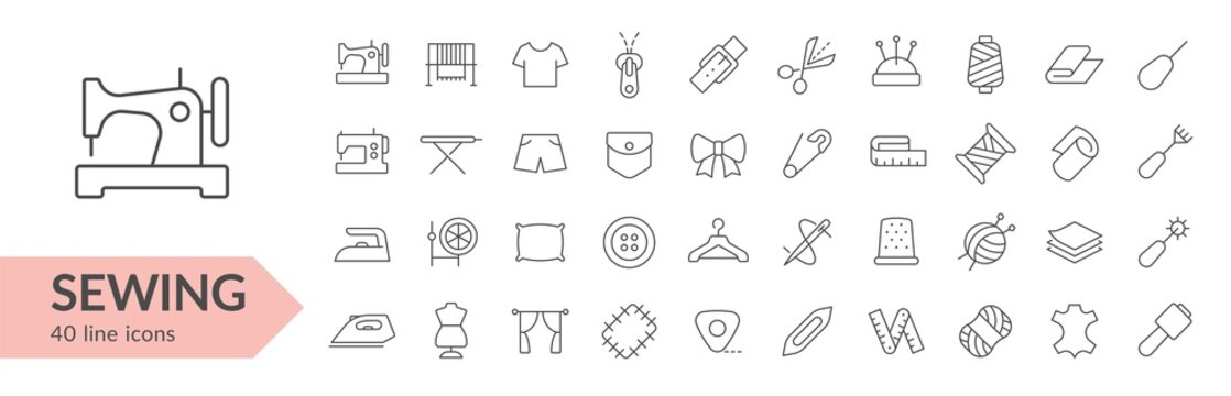 Sewing line icon set. Isolated signs on white background. Vector illustration. Collection