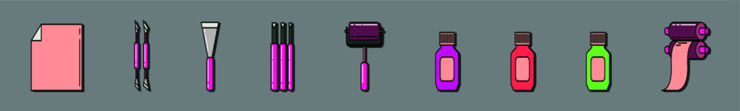 Set color icons of screen printing. glue, bottle and more. vector illustration