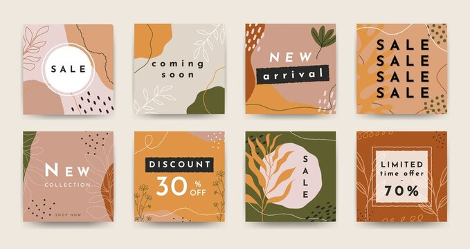 Contemporary sale banner set. Abstract squares with organic hand drawn botanical shapes for social media, web, flyers. Vector illustration