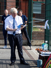 Britain's PM Johnson visits Premier Education Summer Camp at Sacred Heart of Mary Girls' School in Upminster