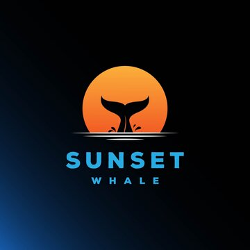 Sunset Whale Tail Silhouette Logo Design Vector