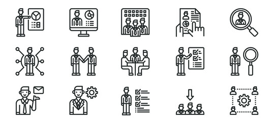 Human Resources Management line icons