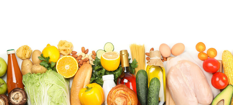 Different food isolated on white background, top view