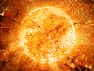 Fiery star with bursted particles