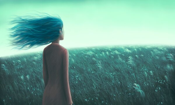 Painting artwork , Alone loneliness hope dream and freedom concept, lonely young woman in grass field, dramatic illustration, solitude nature landscape, art