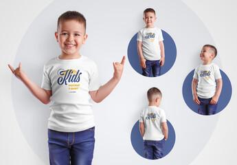 4 Kids T-Shirt Mockups for Boys