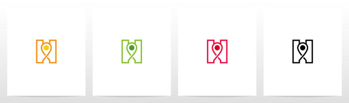 Map Pointer On Letter Logo Design H
