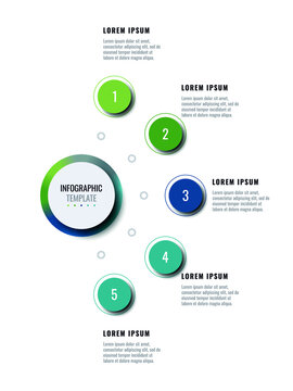 Business infographic template with five round realistic elements on a white background. Modern vertical progress visualisation with options and descriptions. Vector illustration eps10