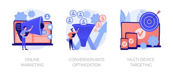 Business development, digital advertisement, internet communication. Online marketing, conversion rate optimization, multi-device targeting metaphors. Vector isolated concept metaphor illustrations.