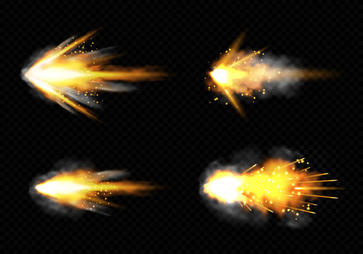 Gun flashes with smoke and fire sparkles. Pistol shots clouds, muzzle shotgun explosion. Blast motion, weapon bullets trails isolated on black background. Realistic 3d vector illustration, icons set