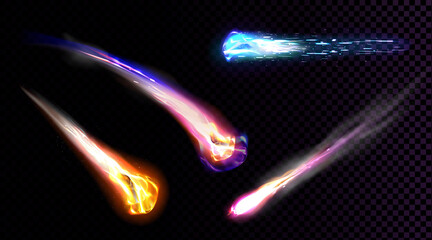 Fototapeta Falling comets, asteroids or meteors with flame trail isolated on transparent background. Vector realistic set of flying glowing meteorites from space, fireballs burning in Earth atmosphere obraz