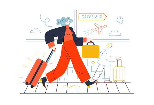 Business topics - business trip. Flat style modern outlined vector concept illustration. A young woman with a suitcase walking by the moving walkway in the airport. Business metaphor.