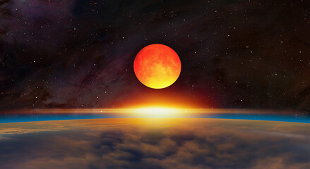 Wall Mural - Big bloody red moon- Lunar eclipse with supernova explosion