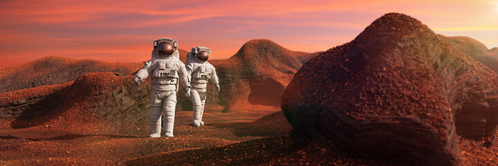 astronauts on Mars, space travelers exploring the red landscape on the red world