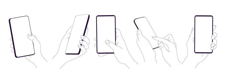 Fototapeta Flat vector hands with phones. Hands holding phones with empty screens obraz