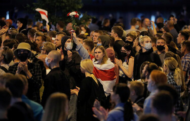 Belarusian opposition supporters protest against presidential election results in Minsk