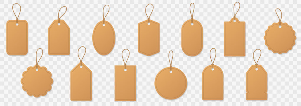 Set blank paper price tags or gift tags. Paper labels with cord. Set template shopping labels with shadow - stock vector.