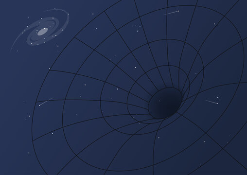Black hole and gravity, cosmic background, a spiral galaxy, a spacetime curvature